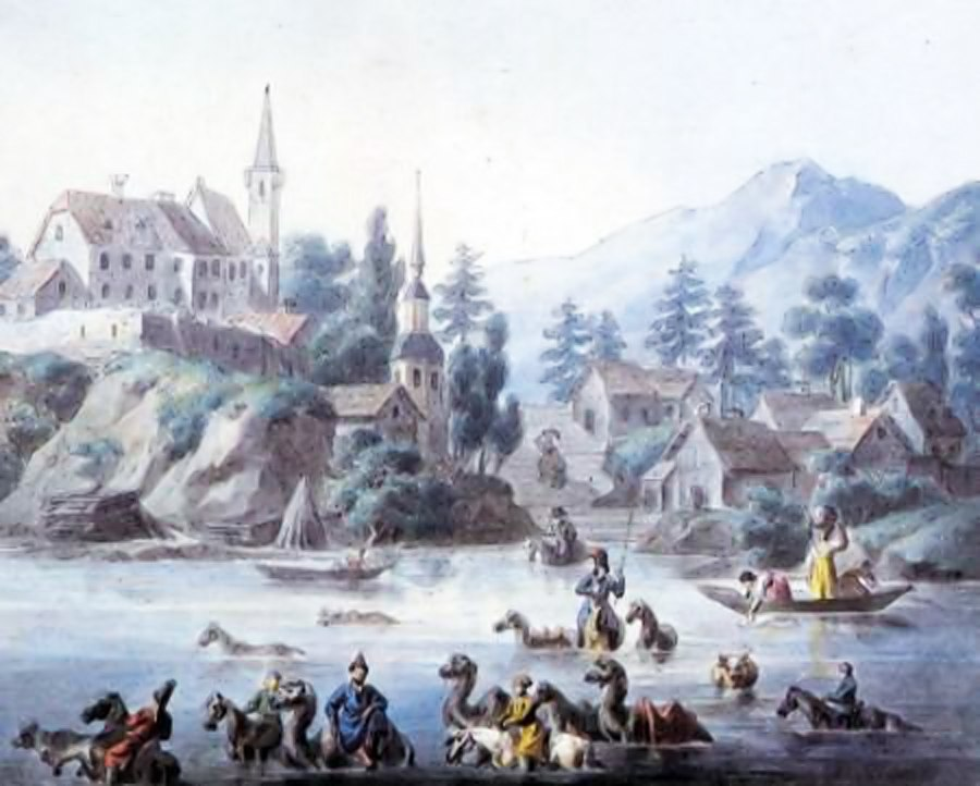 Художник оставил на картине загадки о Петропавловске — горы, всадник-собака и европейские дома