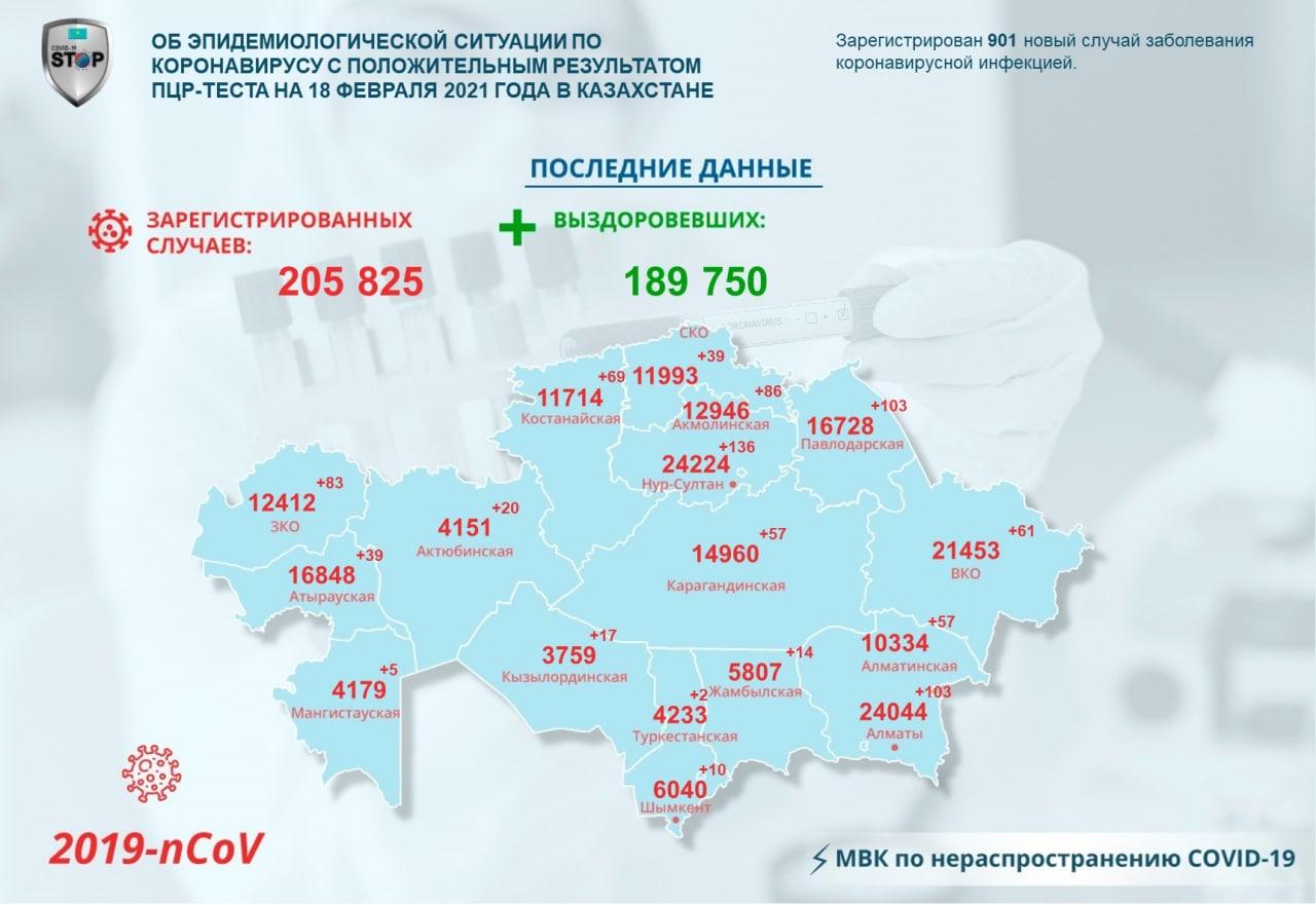 Статистика заболевших коронавирусом на севере Казахстана за сутки