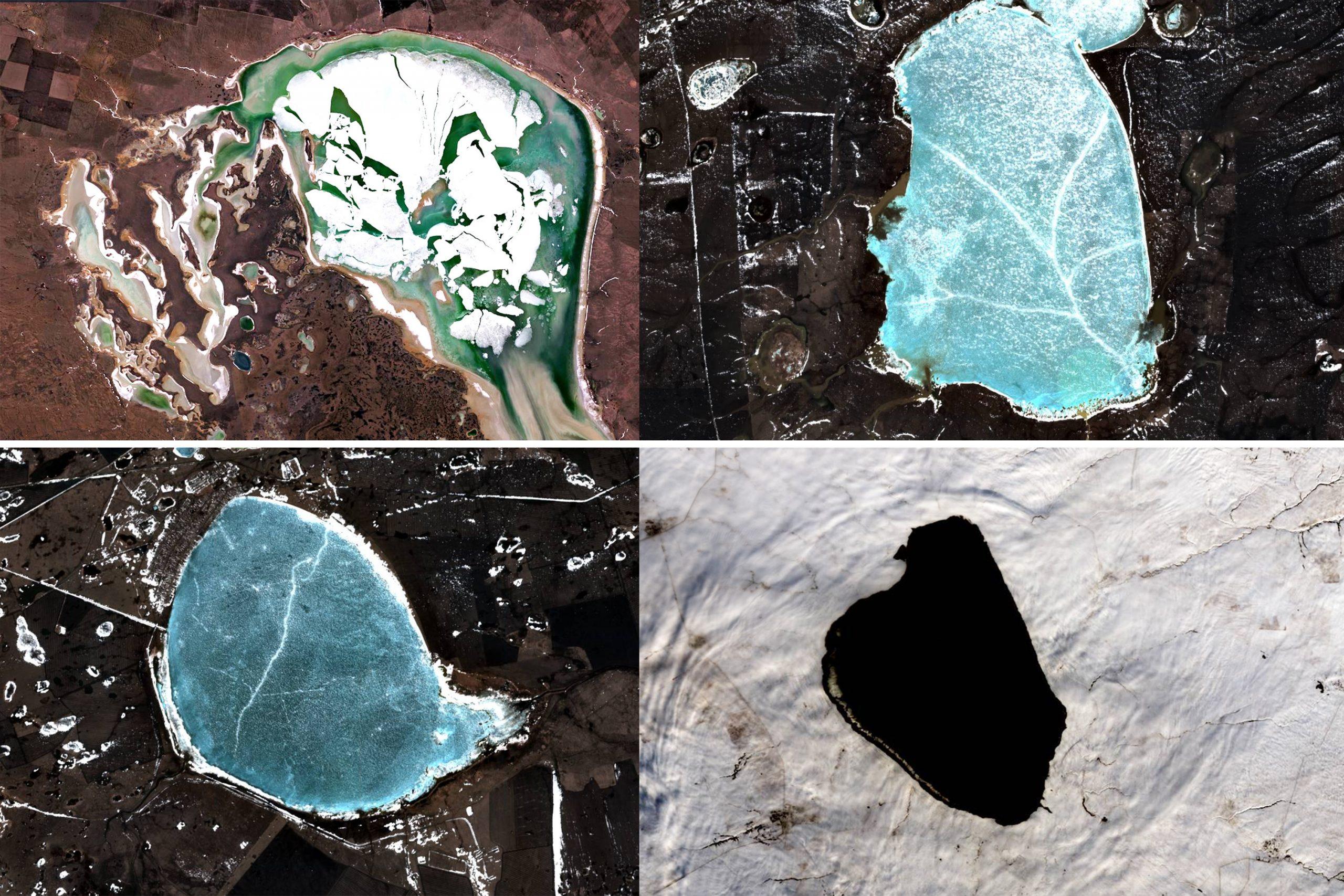 Километровые льдины, зеленая вода и незамерзающее озеро на севере Казахстана