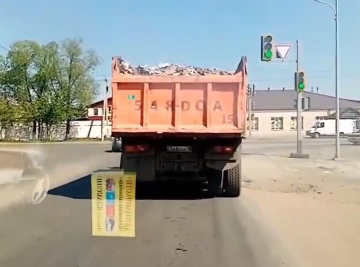 Водитель «КАМАЗа» с мусором попал на видео и был оштрафован в Петропавловске